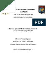 Reporte aplicación Evaluación del proceso de adquisición de la Lengua Escrita.docx