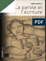 Louis Lavelle - La Parole Et l'Ecriture