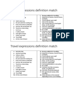 Travel Expressions Definition Match