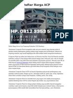 Daftar Harga ACP Hp. 0812 3353 5597