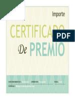 Certificado de Premio Plantilla