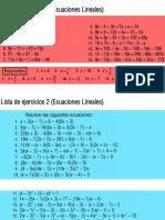 Ejercicios de Ecuaciones Lineales y Cuadráticas