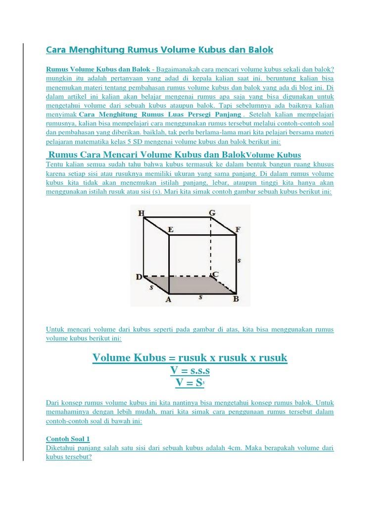 Contoh Soal Mencari Volume Kubus