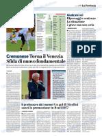 La Provincia Di Cremona 29-10-2018 - Cremonese