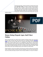 Bonus Setiap Deposit Agen Judi Poker Online