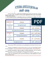 Structura an Scolar Calendar 2018 2019