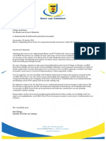 Brief Kern van Cambuur aan ROC Fries Poort