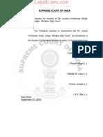 SC Collegium Resolution Dated 7th September, 2018 Reg.transfer of Mr. Justice N. Kotiswar Singh, Judge, Manipur High Court.