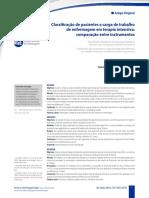 Classificação de Clientes e Carga de Trabalho Enfermagem Uci