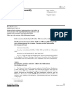 Draft Outcome Document, Millenium Development Goals, Sept. 10, 2010