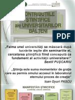 Contribuţiile ştiinţifice ale universitarilor bălţeni [Resursă electronică]