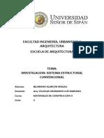 Sistema Constructivo Estructurales Convencionales Materiales II