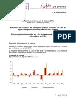 Estadística de Transporte de Viajeros (TV)  Agosto 2018. Datos provisionales
