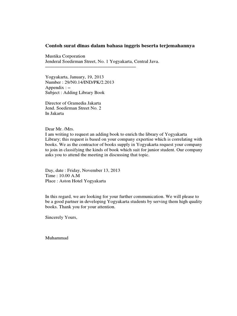 Format Surat Dalam Bahasa Inggris Guru Ilmu Sosial