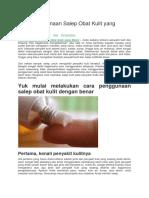 Cara Penggunaan Salep Obat Kulit Yang Benar