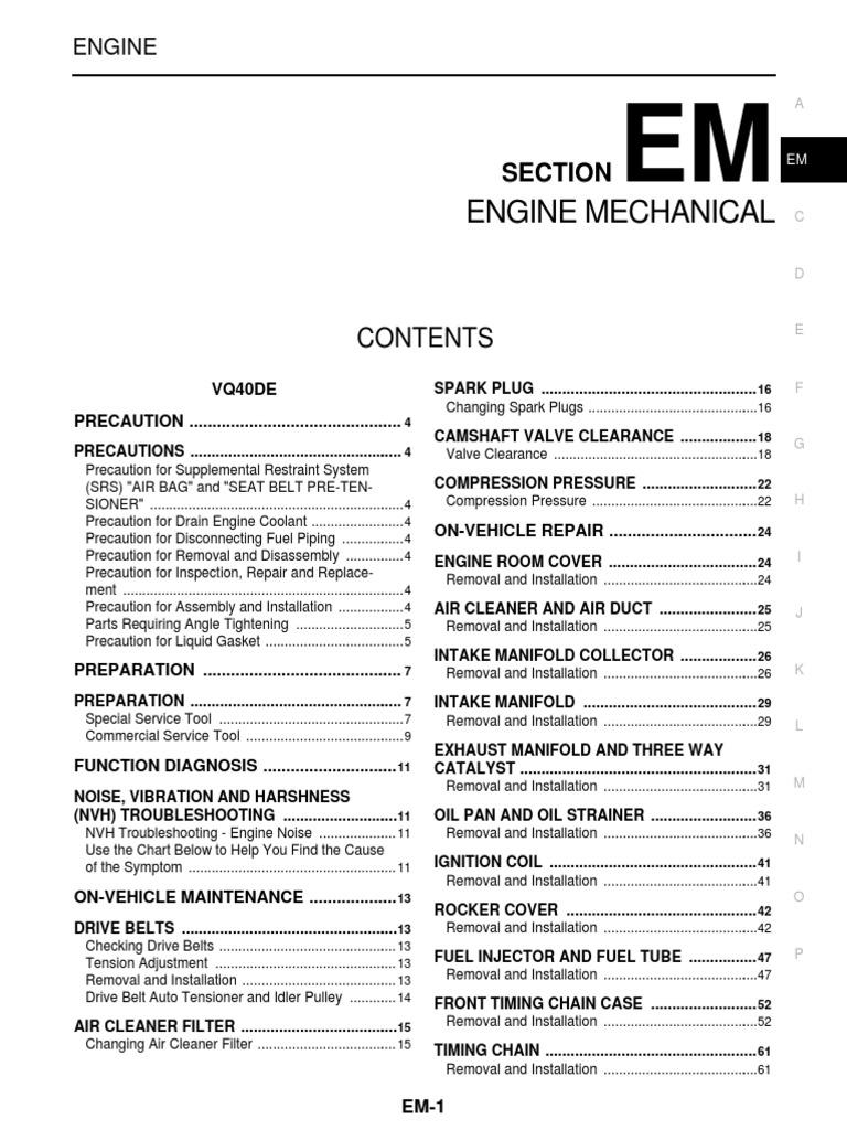 Vq40de Service Manual | Airbag | Screw