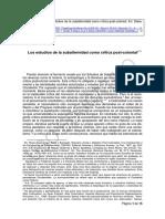 218623265 Prakash G Los Estudios de La Subalternidad Como Critica Post Colonial PDF