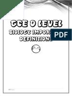 o level Bio Definitions
