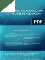 El Discurso Pedagógico en Actividades de Formación