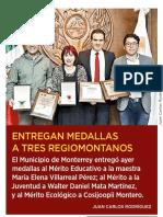 27-10-18 ENTREGAN MEDALLAS A TRES REGIOMONTANOS