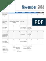 November Calendar 2018