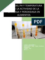 Efecto Del Ph y Temperatura Sobre La Actividad Enzimatica de La Catalasa y Peroxidasa