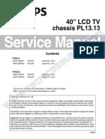 9619 Philips 40PFL4708-F7 40PFL4708-F8 40PFL4908-F7 40PFL4908-F8 Chassis PL13.13 Televisor LCD Manual de Servicio