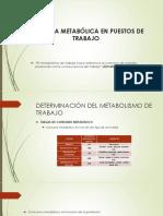 demanda metabólica en puestos de trabajo