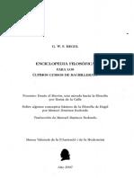 Hegel. Enciclopedia filosófica para los cursos de bachillerato.