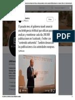 El Pasado Mes, El Gobierno Israelí Anunció Una Inteligencia Artificial Que Utilizan Para Analizar y Monitorear Cada Día 200.000 Publicaciones en Facebook y Twitter
