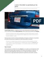 28/Octubre/2018 La legalización de autos chocolate es aprobada por las cámaras y el Congreso