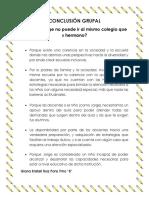 ACT. 11 Conclusion Grupal Sobre Porque Jorge No Puede Ir Al Mismo Colegio Que Su Hermano