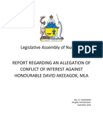Integrity Commissioner Report on Akeeagok Allegation