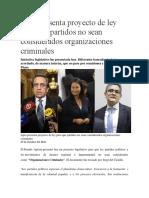 Apra presenta proyecto de ley  para que partidos no sean  considerados organizaciones  criminales