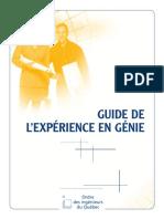 Guide de l Expérience en Génie
