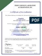 Water - Acrredidation Certificate