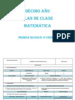 Décimo Plan de Clase Matemática 20182019