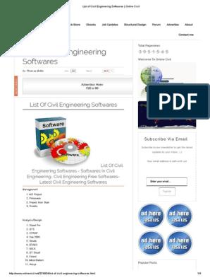 List Of Civil Engineering Softwares Online Civil Intellectual Works Engineering