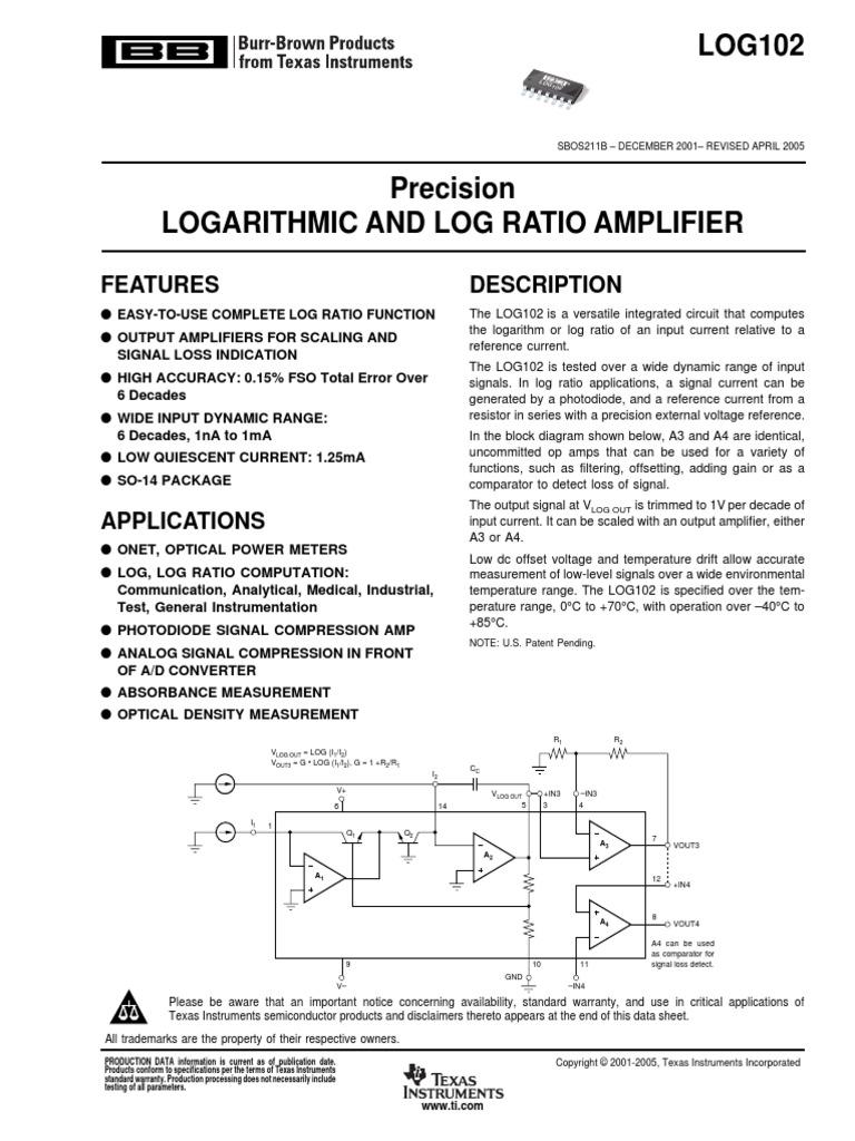AmpLog Burr Brown | Amplifier | Operational Amplifier