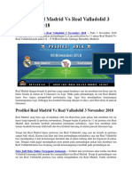 Prediksi Real Madrid vs Real Valladolid 3 November 2018
