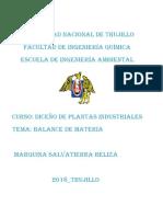 EJERCICIOS DE BALANCE DE MATERIA