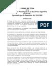 CODIGO DE ETICA de la Federación de Psicólogos de la República Argentina