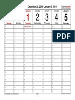 Weekly Calendar 2019 Landscape Time Management