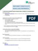 Instrucciones Alta Autonomos Fisioterapia