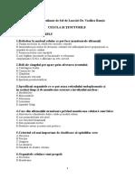 Biologie Teste Admitere UMF Carol Davila 2017