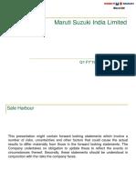 Maruti Suzuki Q1FY19 Investor Presentation