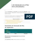 Efemérides de Venezuela en El Mes de Septiembre