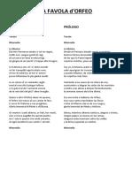 LA FAVOLA d'Orfeo - Libreto