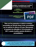 Propuestas Del Precandidato a La Presidencia Por La Coalición PAN y Por México Al Frente; Dr. Ricardo Anaya Cortés
