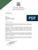 Carta de felicitación del presidente Danilo Medina a Pedro Brache por su confirmación en la presidencia de la Junta Directiva del CONEP